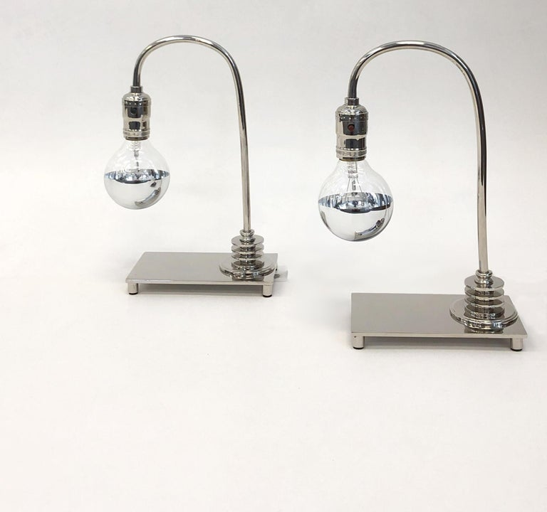 American Pair of Polished Nickel Art Deco Table Lamps For Sale