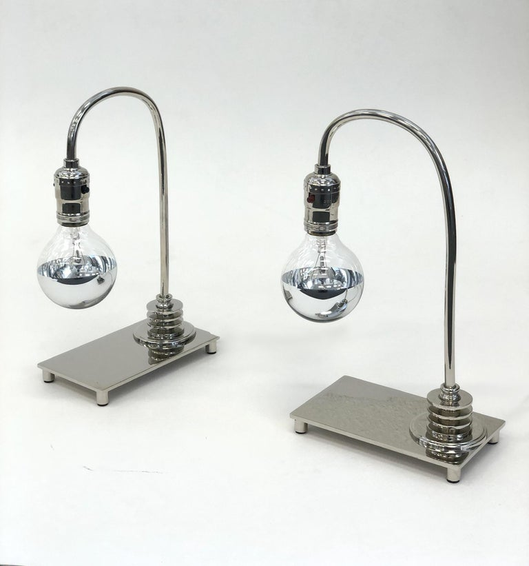 Pair of Polished Nickel Art Deco Table Lamps In Excellent Condition For Sale In Palm Springs, CA