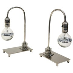 Pair of Polished Nickel Art Deco Table Lamps