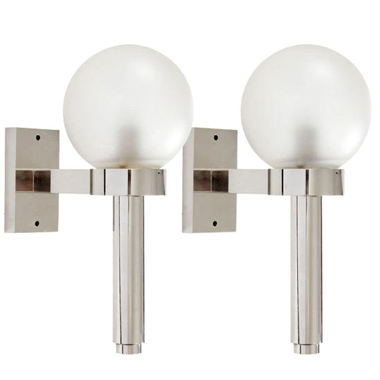 Pair of Polished Nickel Wall Lanterns by Angelo Lelli for Arredoluce For Sale
