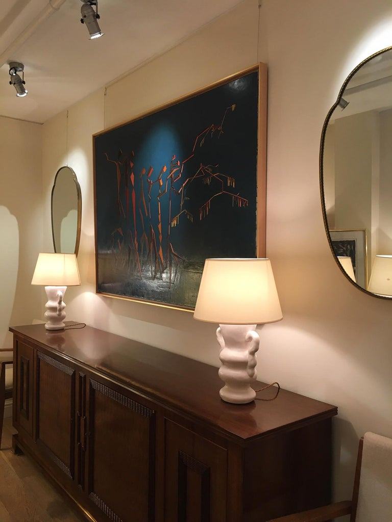 Pair of Polished Plaster Table Lamps by Dorian For Sale 2