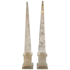 Pair of Polished Rock Crystal Obelisks from South America