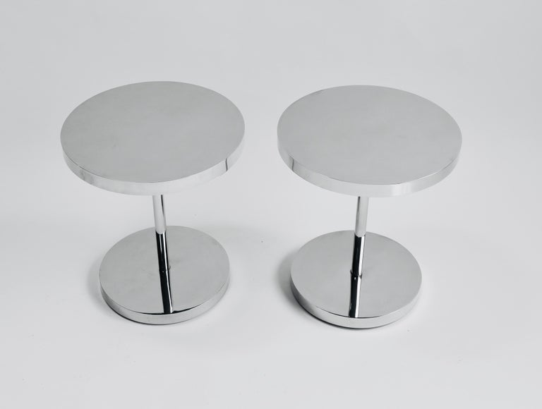 Pair of polished stainless steel drink tables. Attributed to Pace Collection, top quality Minimalist design.