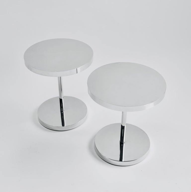 Modern Pair of Polished Stainless Steel Side Tables For Sale