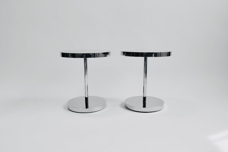 American Pair of Polished Stainless Steel Side Tables For Sale