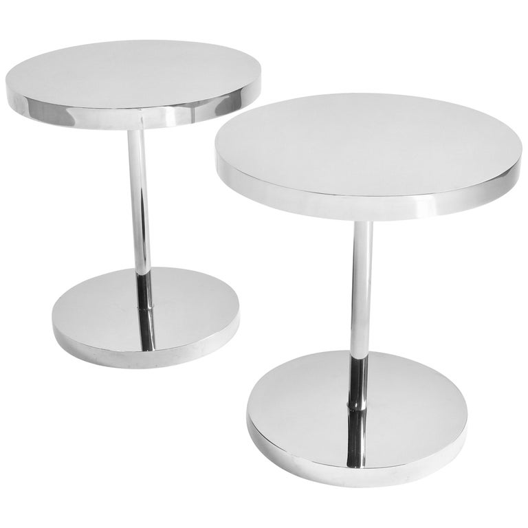 Pair of Polished Stainless Steel Side Tables For Sale