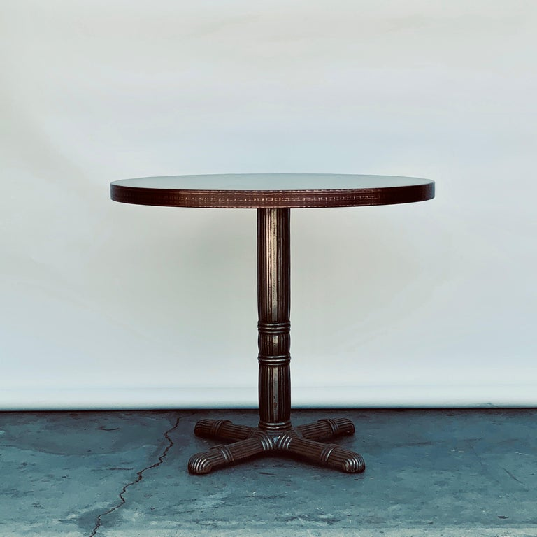 Pair of polished steel and raw copper top gueridon / side tables.  Polished steel French Art Deco bases with antiviral raw copper tops  The current height (26 in.) can be adjusted up to 27 in. if necessary.