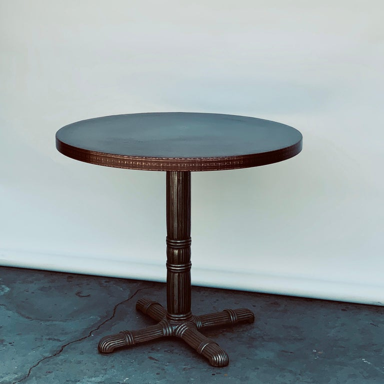 French Pair of Polished Steel and Antiviral Raw Copper Top Gueridon / Side Tables For Sale