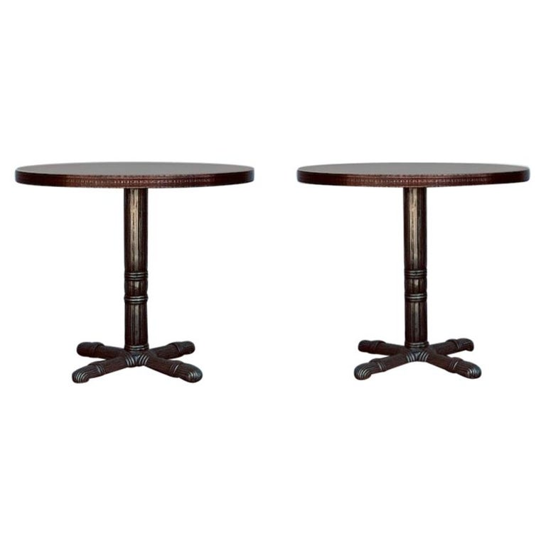 Pair of Polished Steel and Antiviral Raw Copper Top Gueridon / Side Tables For Sale