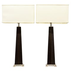 Pair of Polished Steel and Leather Modern Art Deco Style Telescoping Table Lamps