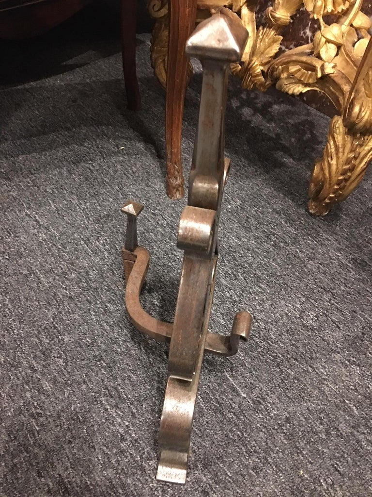 Pair of Polished Steel Chenets or Andirons, 19th Century For Sale 1