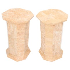 Pair of Polished Stone Tile Tessellated Octagon Shape Pedestals Stand Red White
