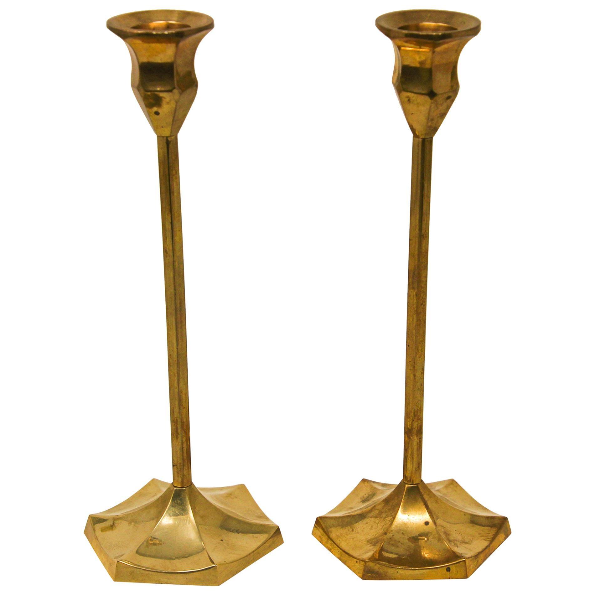 Pair of Polished Vintage Swedish Brass Candlesticks