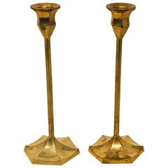 Pair of Polished Vintage Swedish Brass Candlesticks