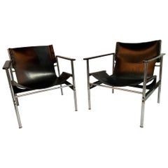 Pair of Pollock Sling Chairs 657 for Knoll, First Generation, 1970-1972