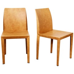 Pair of Poltrona Frau Lola Dining Side Chairs by Pierluigi Cerri Cognac Leather