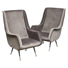 Pair of Poltrone Aldo Morbelli Armchair in Gray Velvet