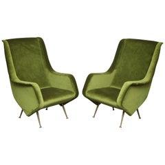 Pair of Poltrone Aldo Morbelli Armchair in Green Velvet