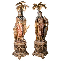 Pair of Polychrome Gilded Bronze Arab Hunters and Palms Sculptures on Pedestals