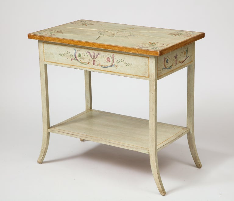 20th Century Pair of Polychrome Painted Bedside Tables For Sale