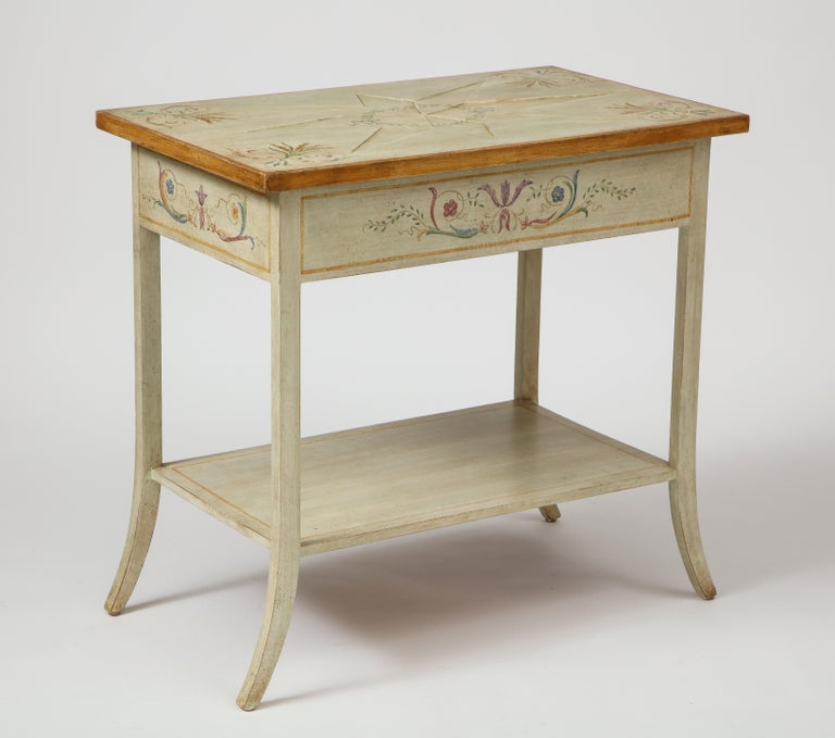 Wood Pair of Polychrome Painted Bedside Tables For Sale
