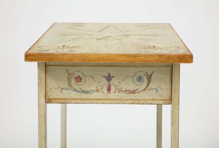 Pair of Polychrome Painted Bedside Tables For Sale 1