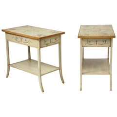 Pair of Polychrome Painted Bedside Tables