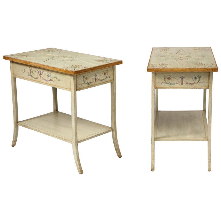 Pair of Polychrome Painted Bedside Tables For Sale