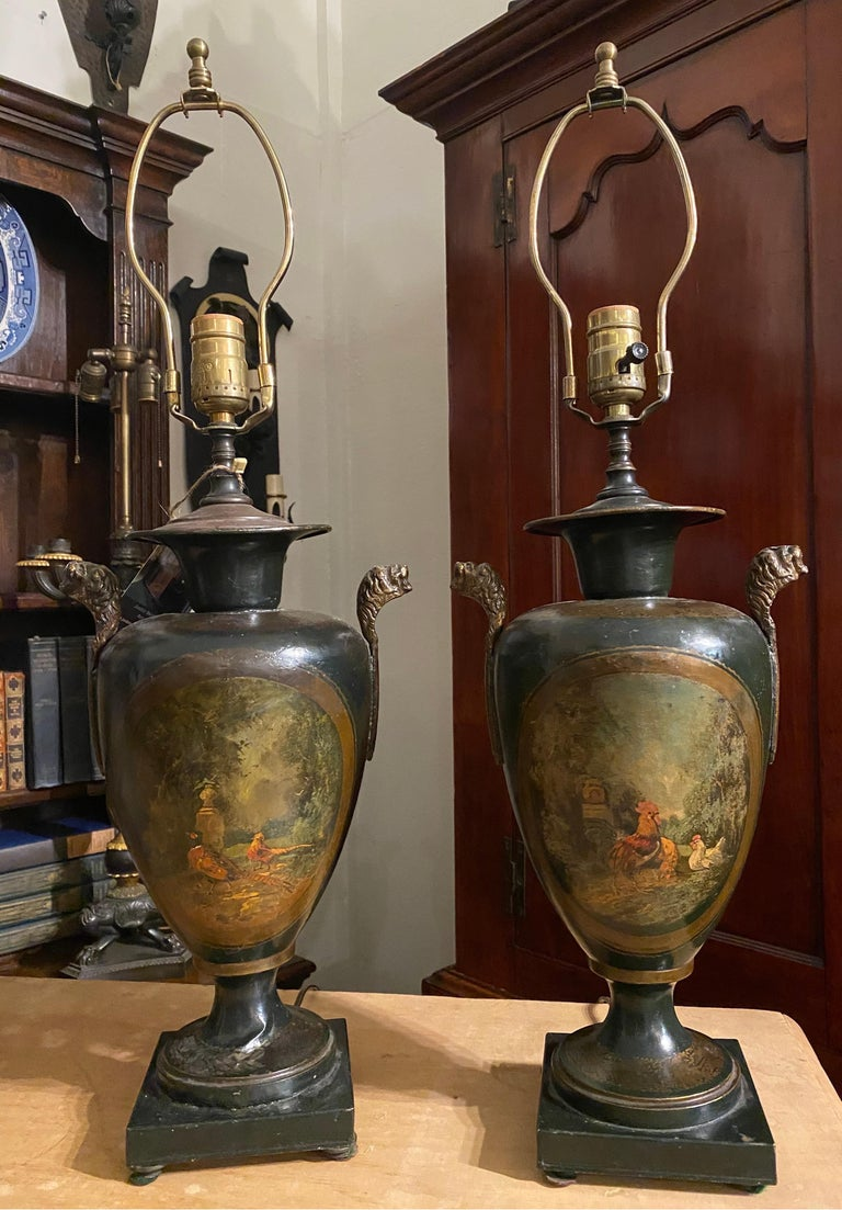 Great pair of late 19th-early 20th century tole lamps featuring scenes of pheasants on one and roosters or chickens on the other.  24.75