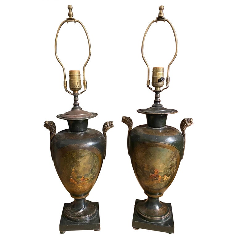 Pair of Polychrome Tole Lamps with Scenes of Pheasants and Chickens For Sale
