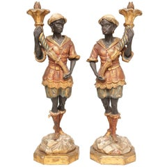 Pair of Polychromed Blackamoor Figures