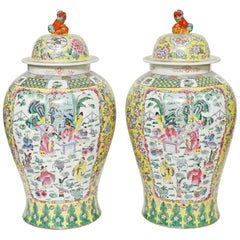 "Pair of Temple Jars with Covers, Chinese Polychromed Porcelain-30 1/2"" Tall"
