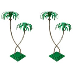 Pair of Polychromed Whimsical Palm Tree Candlesticks