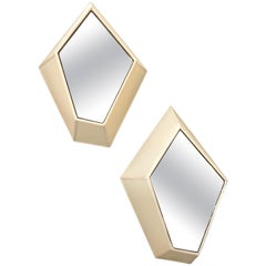 Pair of Polygonal Wall Sconces with Fabric and Mirror, Italy, 21st Century