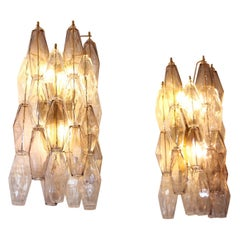 Pair of Polyhedral Sconces in Murano Glass, Venini Style