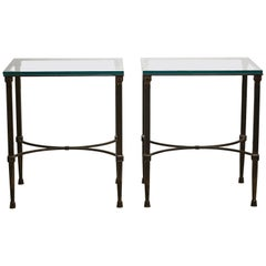 Pair of Pompeian Style Forged Gun Metal Finish Iron Glass Top Tables, 20th C.