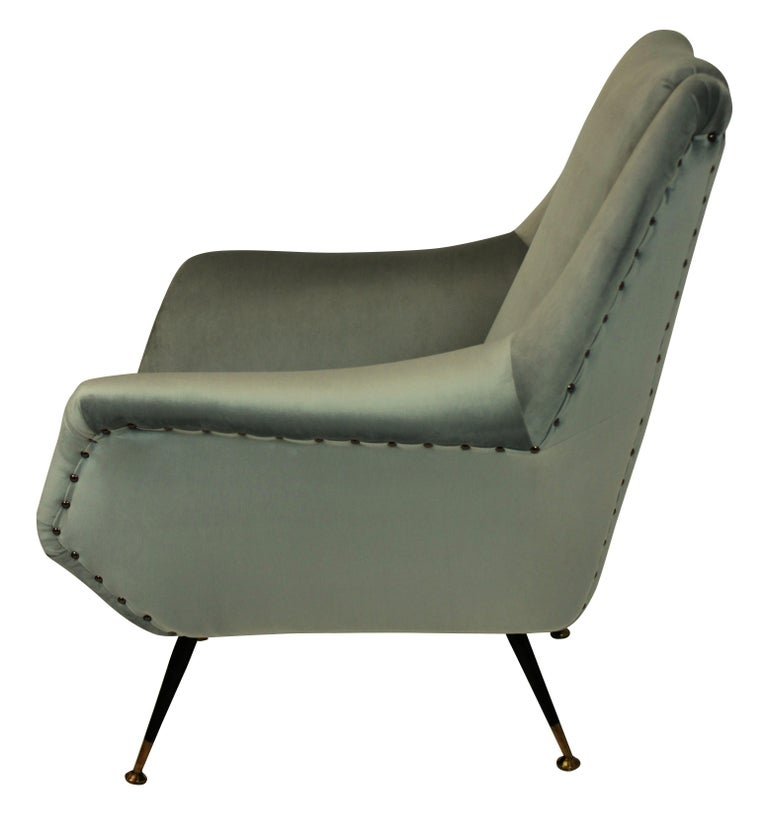 Pair of Ponti Style Midcentury Armchairs In Good Condition For Sale In London, GB