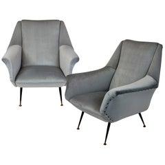 Pair of Ponti Style Midcentury Armchairs