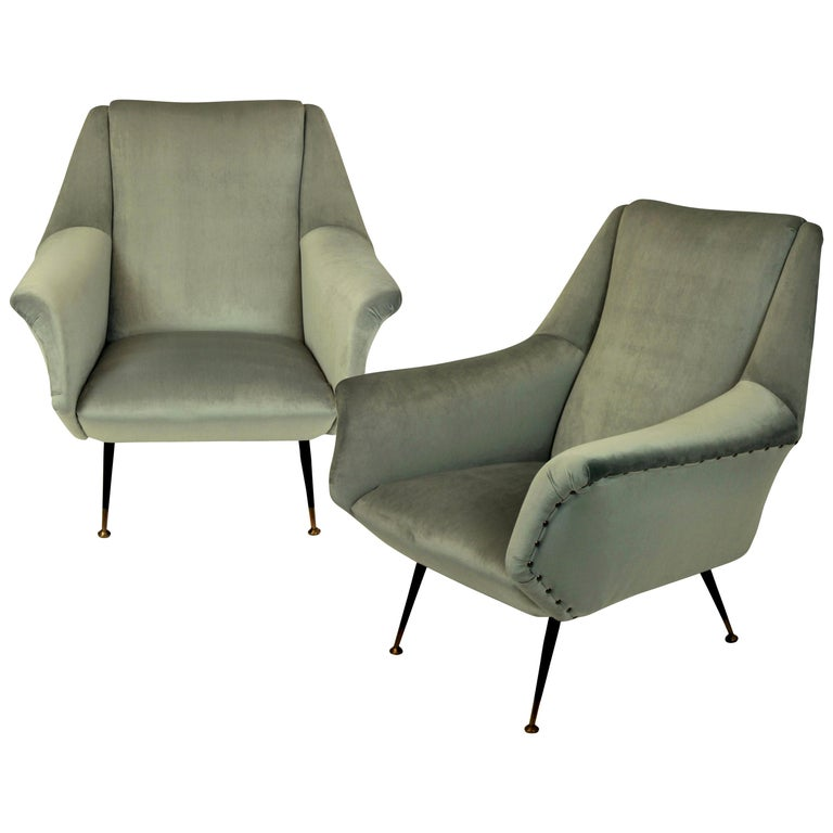 Pair of Ponti Style Midcentury Armchairs For Sale