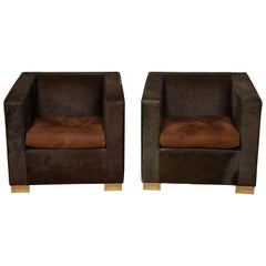 Pair of Pony Skin Club Chairs by Minotti