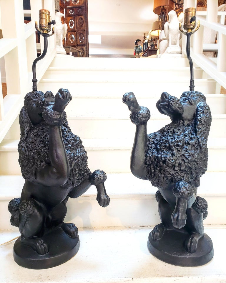 Mid-Century Modern Pair of Poodle Lamps For Sale