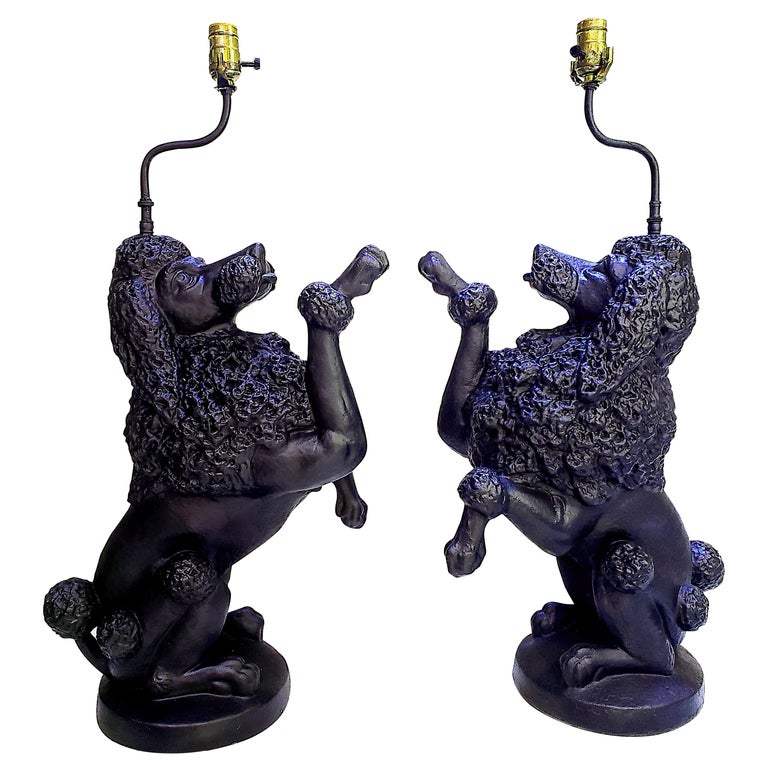 Pair of Poodle Lamps For Sale