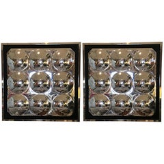 Pair of Pop Art Acrylic Bubble Mirrors in Verner Panton Style