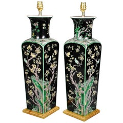 Pair of Porcelain 19th Century Chinese Famille Noire Antique Table Lamps