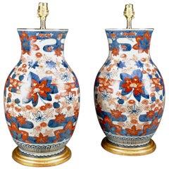 Pair of Porcelain 19th Century Japanese Imari Baluster Antique Table Lamps