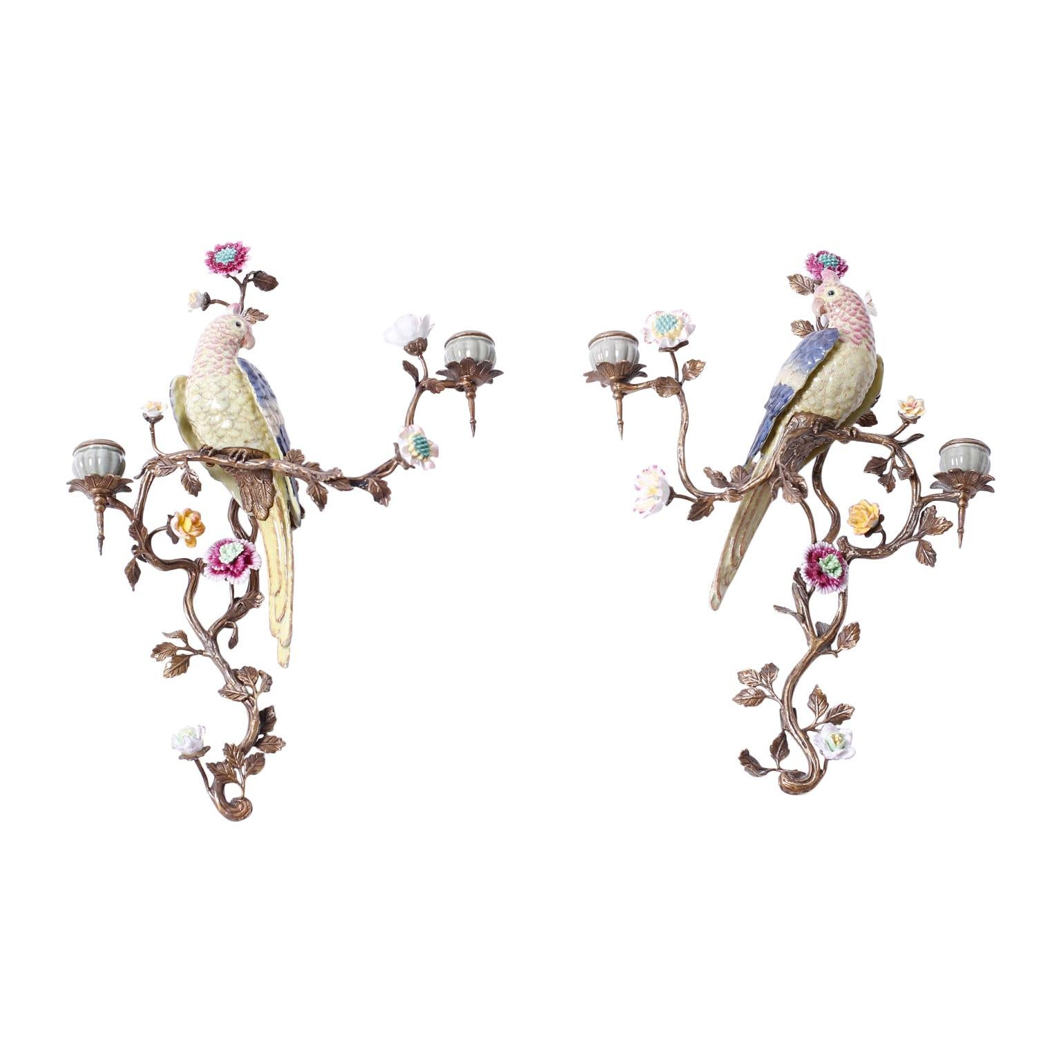 Pair of Porcelain and Brass Bird Wall Sconces