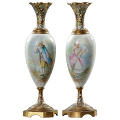 Pair of Porcelain and Bronze Cloisonné Vase, 19th Century