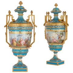 Pair of Porcelain and Gilt Bronze Mounted Vases in the Manner of Sèvres