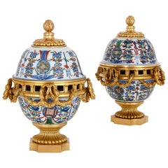 Pair of Porcelain and Gilt Bronze Pot-Pourri Vases, Retailed by Boin-Taburet
