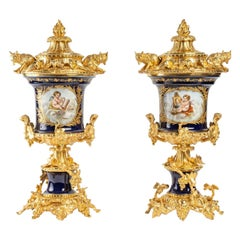 Pair of Porcelain and Gilt Bronze Vases